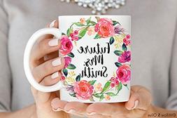 Future Mrs Mug - Personalized Floral Engagement Mug - Custom