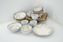 Pfaltzgraff Gabriela Gray 16 Piece Stoneware Dinnerware Set