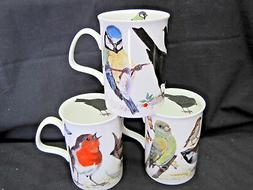GARDEN BIRDS, SET 3 FINE BONE CHINA mugs, Made In England, b