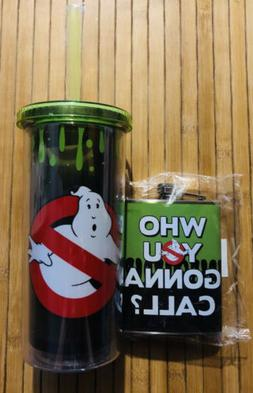 Ghostbusters Flask 7oz & Travel Tumbler Straw Cup 20 oz Set