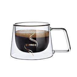 Glass coffee cup Double Wall-COSINE 200ml/6.5oz Heat Resisti