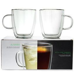 LINKYO Glass Coffee Cups - Double Wall Insulated Mugs, 2-Pac