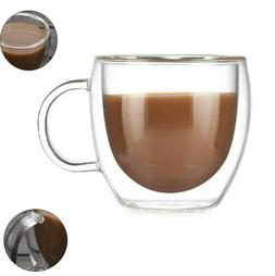Glass Coffee Mug Hand Grip Kitchen Water Tea Cup Drinkware D