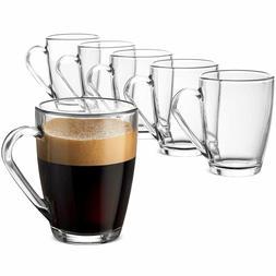 Glass Coffee Mug Set -  10 ¾ Ounce with Convenient Handle,
