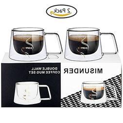 MISUNDER Glass Coffee Mug Sets-2017 Double Wall Insulated Gl