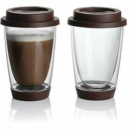 Sweese Glass Travel Coffee Mug Set 2 - Double Wall Thermo In