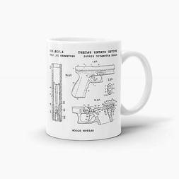 Glock Automatic Pistol Patent Coffee Mug; Military Drinkware