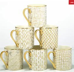 GOLD 6 Piece Mcwhorter Mug Set  Cups Tea Coffee NEW