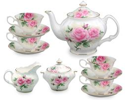 Gracie Bone China 11-Piece Tea Set, Pink Green Rose Bouquet