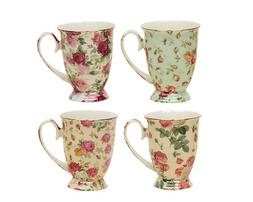 Gracie China by Coastline Imports Rose Chintz Porcelain Foot