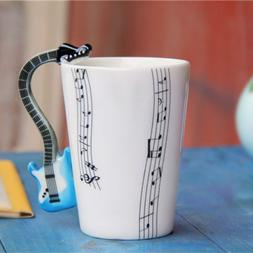 Guitar Handle Music Note Pattern Coffee Mug Whtie Porcelain
