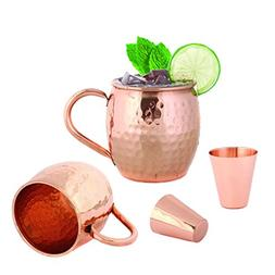 Set of 2 Hammered Copper Moscow Mule Mug 16 Ounces by Foodie