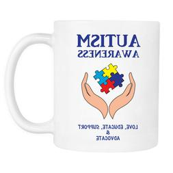 Hand and Puzzle Autism Awareness Gift Novelty Ceramic Coffee