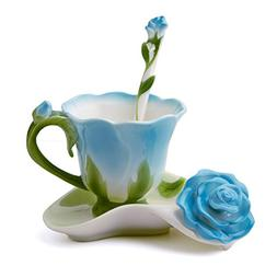 New Fashion Hand Crafted Porcelain Enamel Blue Rose Coffee C
