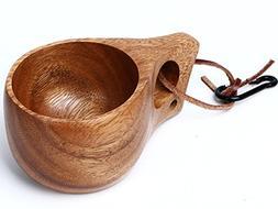 Handmade Solid Acacia Wood Nordic Style Kuksa Portable Outdo