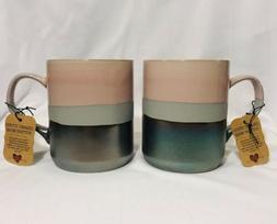 Set Of 2 La Rochelle Handmade Stoneware Pink Metallic Coffee