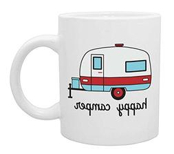 Happy Camper Funny Coffee Mug- White 11 oz Coffee Cup - Nove