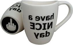 Have A Nice Day Coffee Mug, Funny Cup With Middle Finger On