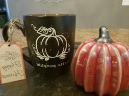 Hello Pumpkin Coffee Mug Cup Black Orange Speckle Fall Autum