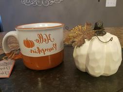 Hello Pumpkin Coffee Mug Cup Orange White Speckle Fall Autum