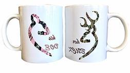 InkPonyArt His Doe Her Buck Coffee Mug set John Great Gift f