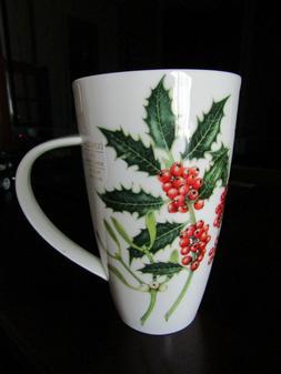 "Dunoon Henley ""Holly & Mistletoe"" fine bone china cup / mug"