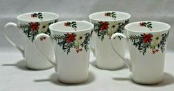 Mikasa Holly Wreath Christmas Bone China Coffee Mugs Set of