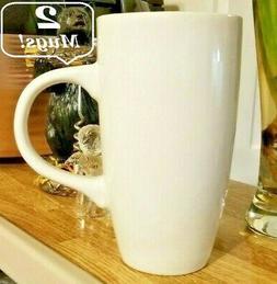 2x Home Office Tea Coffee CERAMIC Tall Mugs Plain White Mug