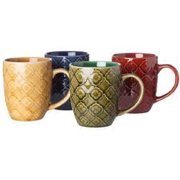 Signature Housewares Coffee and Tea Mugs, Textured Lattice,
