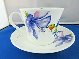 HUMMING BIRD FINE BONE CHINA  BREAKFAST CUP SAUCER, ROY KIRK