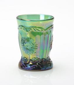 Hunter Green Carnival Glass Dahlia Flower Pattern Tumbler Ma