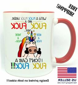 I Don't Give A F&ck F&ck, Funny Unicorn, Mug 11 oz, Birthday