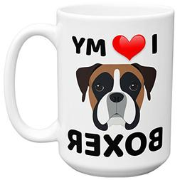 Mugvana I Love My Boxer Dog Novelty Ceramic Coffee Mug Cup w