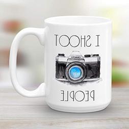I Shoot People, Large 15 oz Camera Coffee Mug, Funny Novelty