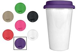 Insulated Ceramic Travel Coffee Cup - 10 oz Glossy White Dou
