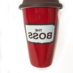 10oz insulated red porcelain travel coffee mug