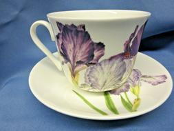 IRIS BREAKFAST CUP SAUCER KIRKHAM Fine Bone China. ENGLAND..