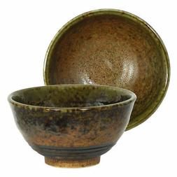 "Japanese Rice Soup Bowl 4.75""D Ceramic Minokodo Brown Green"