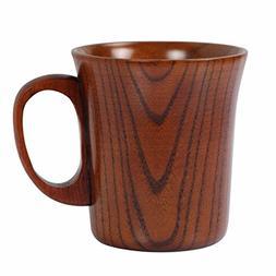 Geeklife Jujube Wood Coffee Mug Wooden Tea Cup, Brown