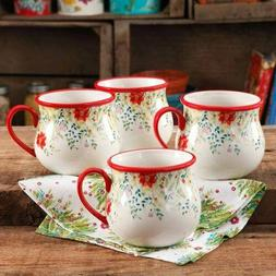 Jumbo Floral Holiday 28 oz Belly Mug Set of 4 Coffee Tea Bev