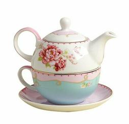 Jusalpha Fine Bone China Teapot for One, Rose Teapot and Sau