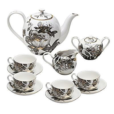 11 piece porcelain tea set black peony
