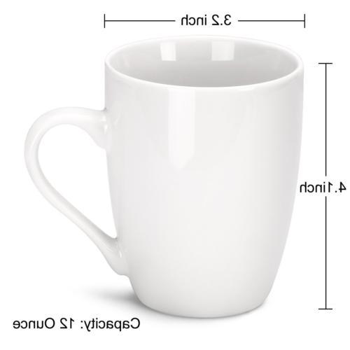 MIWARE 12 Ounce Mugs, of Tea and Coffee Mug Set, White