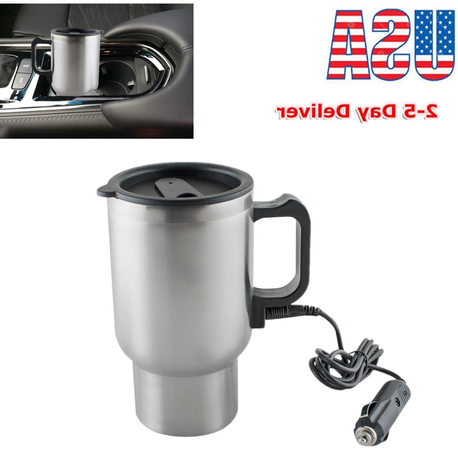 12V Electric Heated Travel Mug Stainless Steel Coffee Tea Cu