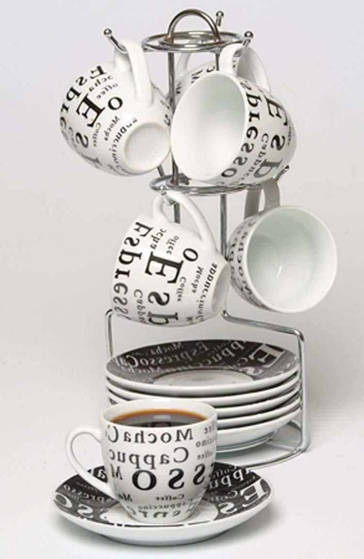 6db3aeedd5c 13 Piece Espresso Cup And Saucer Set Storage Rack Tea Cup Co