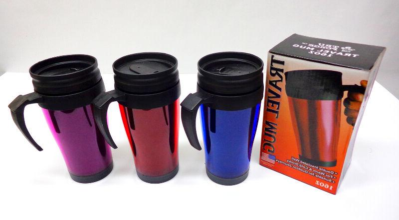 16 OZ Insulated Double Wall Travel Coffee Mug CUP NEW FROM U