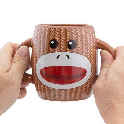 2pk Mug Set Two-Handled Ceramic Mugs Novelty Microwave