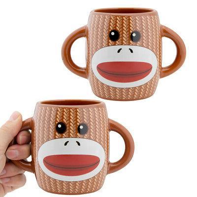 2pk sock monkey ceramic mug 2 sided