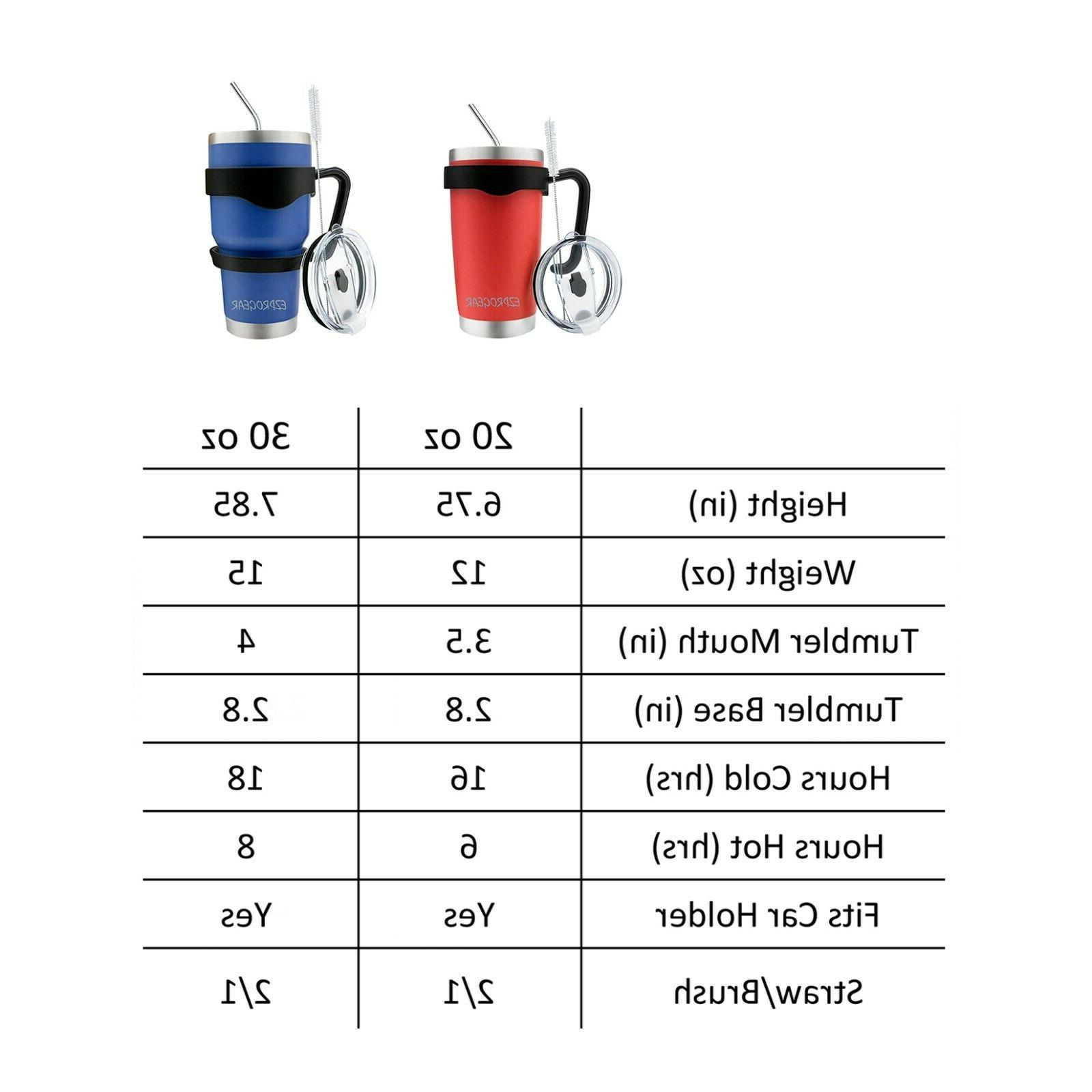 20 Stainless Steel Tumbler w/ & Straws Travel Coffee