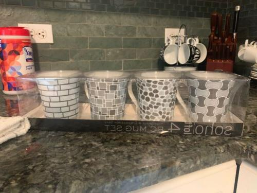 4 pc coffee mug set microwave